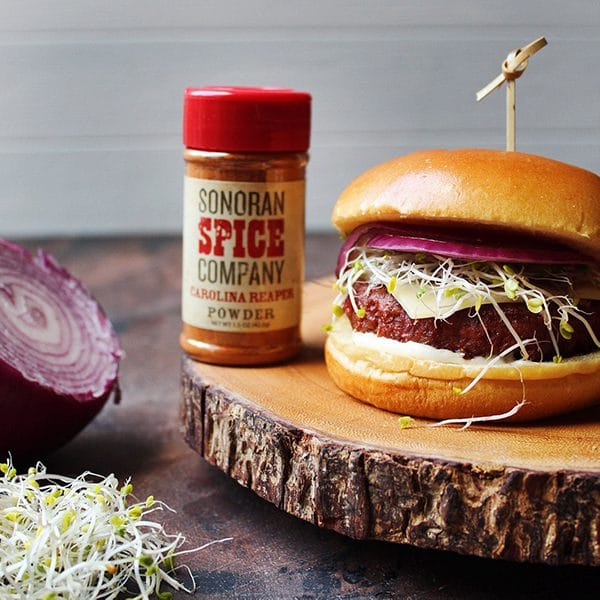 Spicy Veggie Burger With Sonoran Spice Carolina Reaper Powder