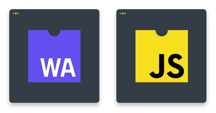 artwork depicting WebAssembly vs. JavaScript