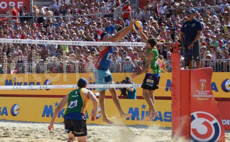 Australian beach volleyball players Durant and Schumann