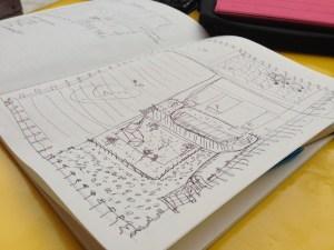 ロニーのノート、議論で出たアイディアは次々彼のノートにメモされていきます
