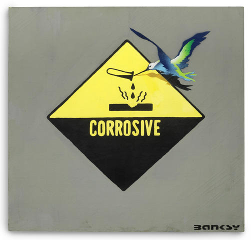 Banksy's Corrosive Bird, stencil spray paint and acrylic on canvas, von 2001 auf 76 by 76 cm