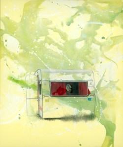 Ki Yoon Ko, Trailer Home, Mischtechnik auf Leinwand, 100 x 120 cm