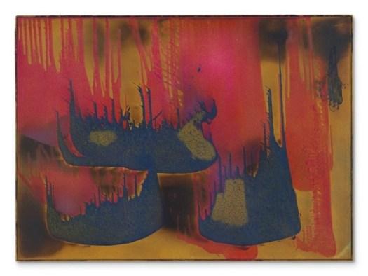 """Das Feuerbild """"Peinture de feu couleur sans titre, von Yves Kleins  (FC 27)"""" aus 1962 brachte 5,2 Millionen Pfund (Taxe um fünf Millionen). - Foto Christie's"""