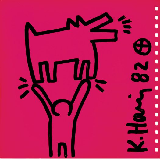 Keith Haring, Signed Keith Haring and dated 82, Marker on front inside cover of Tony Shafrazi exhibition catalogue 9 x 9 1/8 inches, für 8200 EUR bei Auktionshaus Doyle ca. 30% unter Marktpreis