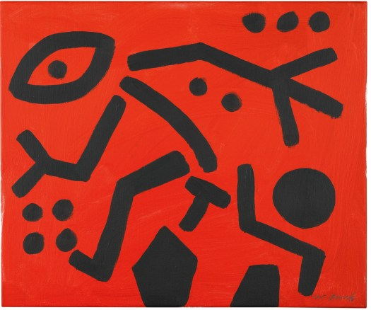 A. R. Penck B.1939 MOVING FIGURE signed acrylic on canvas 50 by 60cm.; 19 1/2 by 23 5/8 in. Executed circa 1990.