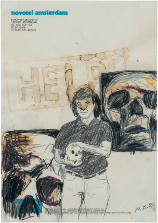 MARTIN KIPPENBERGER (1953-1997) Untitled signed with the artist's initials and dated 'M. K. 91/93' (lower right) graphite, colour pencil and watercolour on hotel stationary (29.5 x 20.8cm.) Executed in 1991-1993 PROVENANCE: Galerie Borgmann-Capitain, Cologne. Private Collection, Cologne. Acquired from the above by the present owner in 2005. £10,000-15,000
