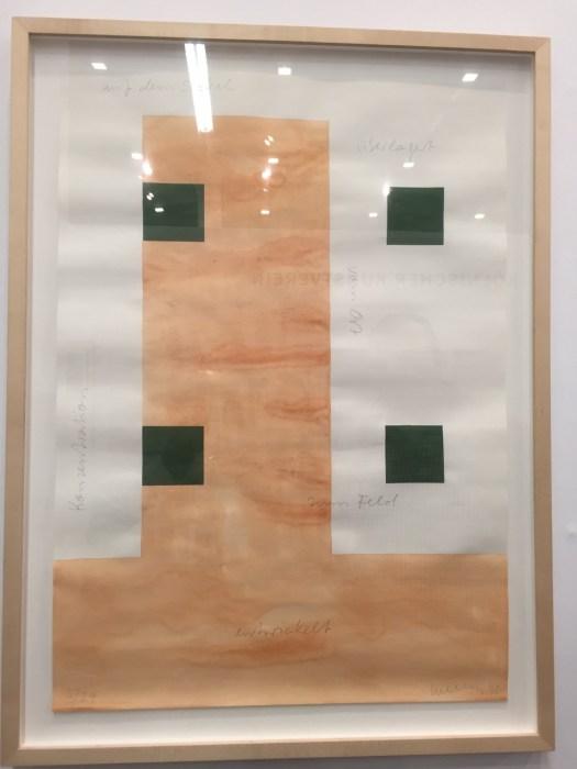 Ein der vielen attraktiven Schnapper im Preiseinstieg in Halle 11.3 bei den Verlagen und Kunstvereinen. Diese 50 x 70 cm messende serielle Arbeit Franz Erhard Walthers für lediglich 1500 EUR. Titel 'Zwei Zeiträume'