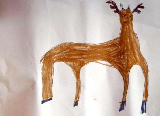 Braunwesen, Buntstift auf gestauchtem Papier, 29,5 x 21 cm. Rückseitig Fingerabdruck-Signatur