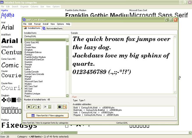tela do software gerenciador de fontes AMP Font Viewer