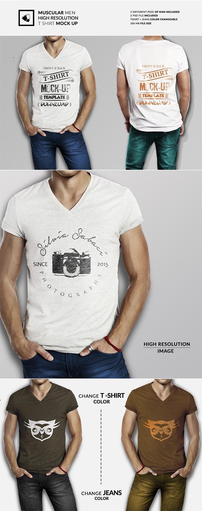 Muscular men high resolution t shirt mockup
