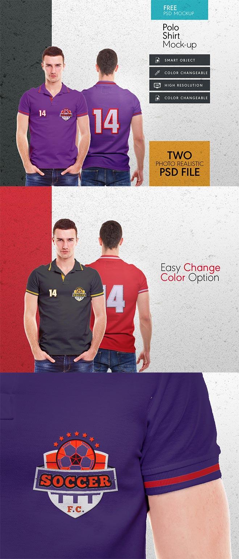 Men collar t shirt mock up template