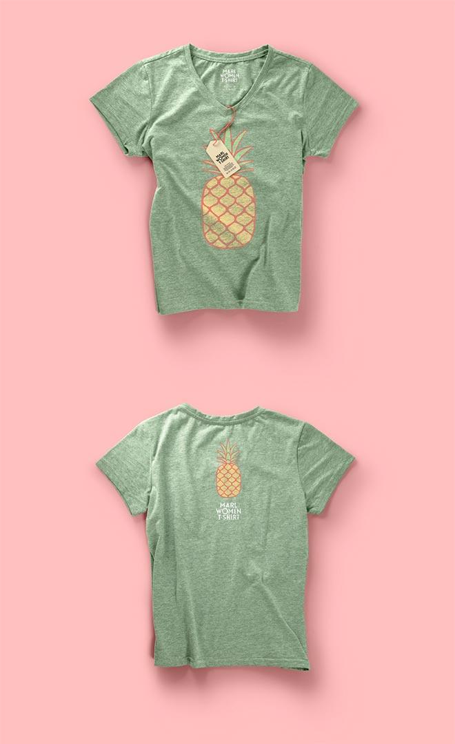 Woman Psd Marl T-shirt Mockup Vol2