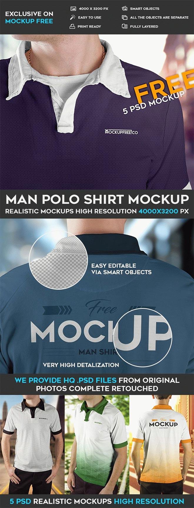 Man Polo Shirt – 5 Free PSD Mockups