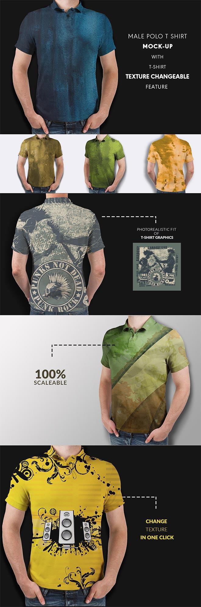 Men polo t shirt mock up