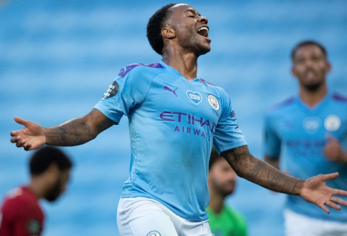 Manchester City player Raheem Sterling celebrates scoring a goal in the UEFA Champions League