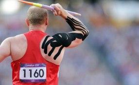 Olympic Javelin Wears Kinesio Tape