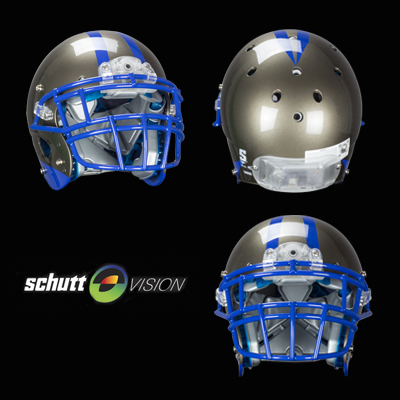Schutt Vision places a camera in the front of the helmet and an electrical panel in the back. The panels are pictured with clear plastic, but can be painted to blend into the helmet.