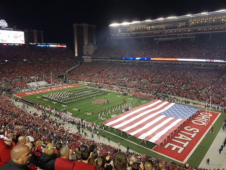 The Best Damn Band in the Land performs during the national anthem.