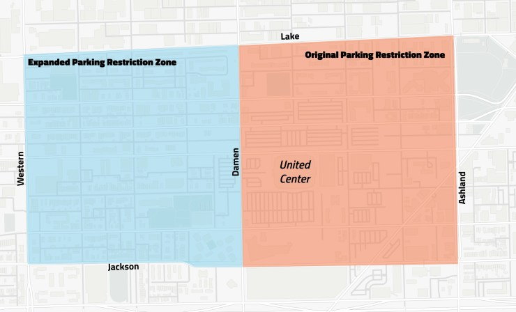free parking united center map restricted zone
