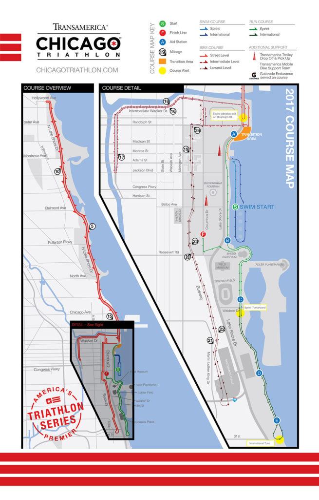 Chicago Triathlon Map 2017