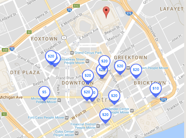 SpotHero Ford Field parking map