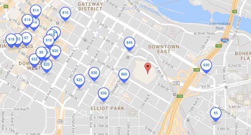 image regarding Minneapolis Skyway Map Printable named US Financial institution Stadium Parking: Your Marketing consultant towards Vikings Parking