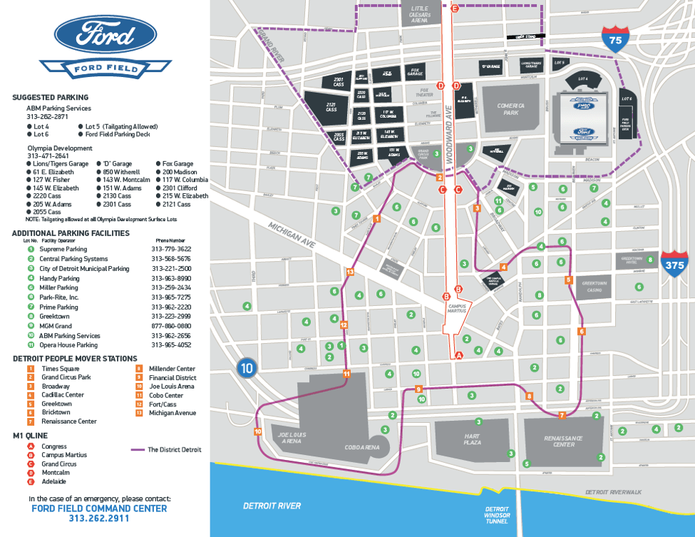 Lions Parking Your Guide To Ford Field Parking Tips Reservations - Lp field parking map