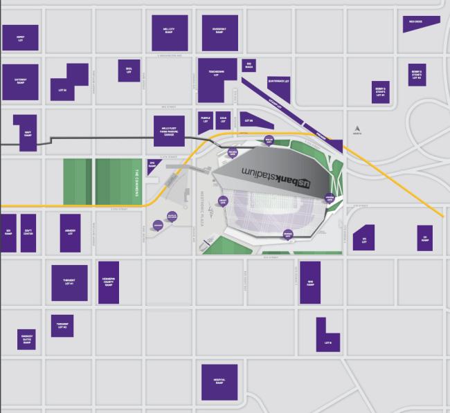 us bank stadium parking map