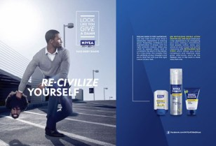 """An image of one of the Nivea """"Re-Civilize Yourself"""" ad spots."""