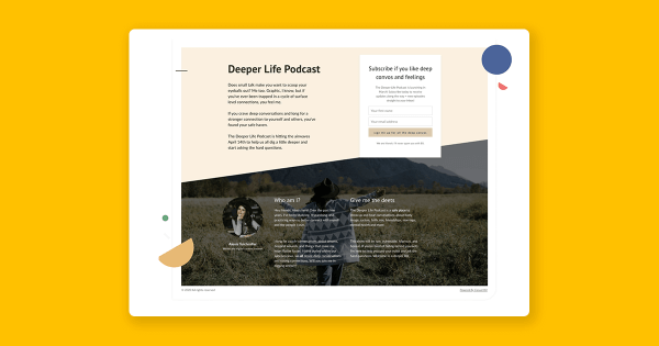 a podcast landing page