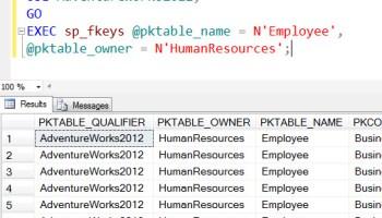 SQL SERVER - Listing Primary Key of Table with Stored Procedure sp_pkeys sp_fkeys