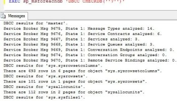 SQL SERVER - DBCC commands List - documented and undocumented dbcccheckdb