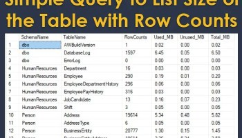 SQL SERVER - List Tables with Size and Row Counts rowcountwithsize