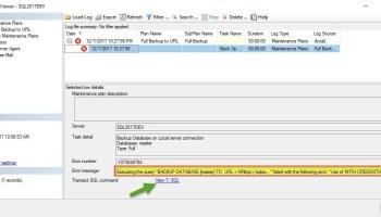SQL SERVER - Maintenance Plan - Backup Files Not Getting Deleted bkp2url-err-02