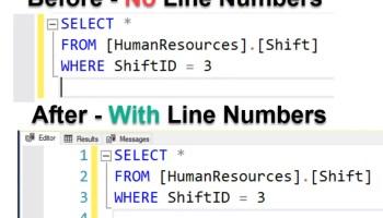 SQL SERVER Management Studio - ALT Keys Trick to Select Vertical Text linenumber1