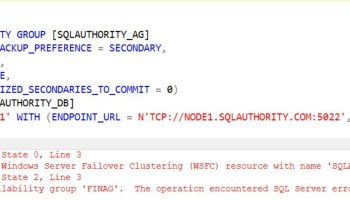 SQL SERVER – FIX: The specified instance of SQL Server is hosted by a system that is not a Windows Server Failover Cluster(WSFC) Node. ao-type-err-01
