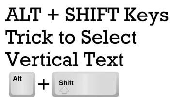 SQL SERVER Management Studio - ALT Keys Trick to Select Vertical Text altshift1