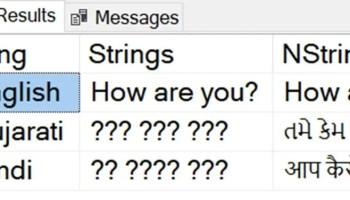 SQL SERVER - Datatype Storing Unicode Character Strings non-English