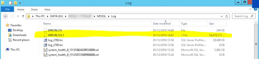 SQL Server Error Log with 56GB size