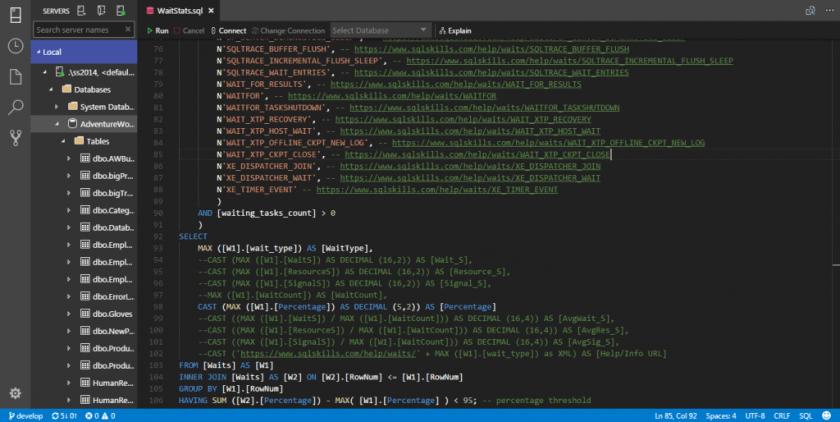 SQL Operations Studio - Widget 01
