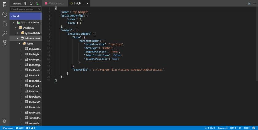 SQL Operations Studio - Widget 05