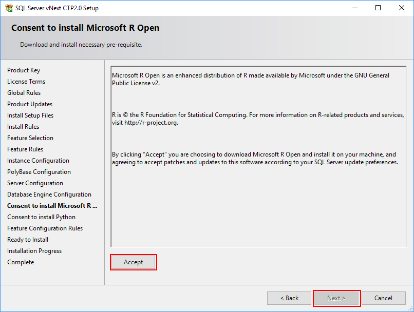 SQL Server 2019 Setup - Consent to install Microsoft R Open