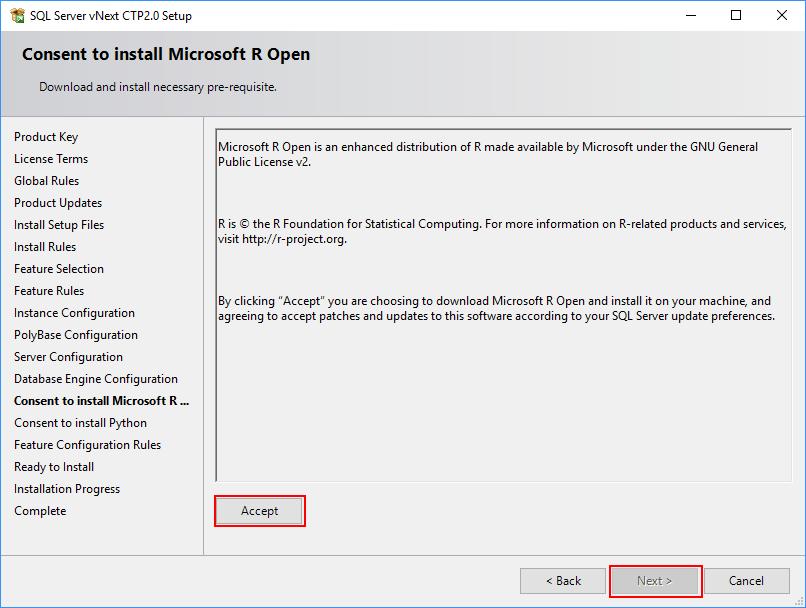 SQL Server 2019 Setup - Consent to install Microsoft R Open