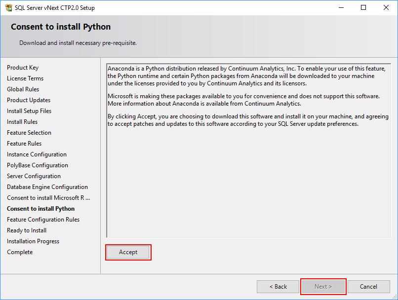 SQL Server 2019 Setup - Consent to install Python
