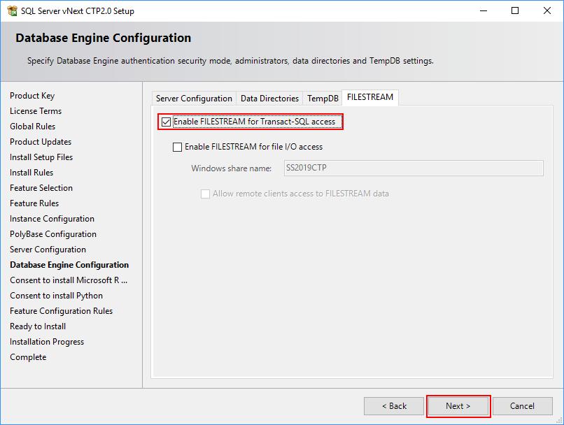 SQL Server 2019 Setup - Database Engine - Filestream