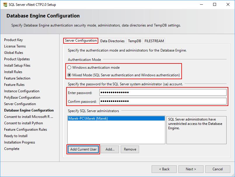 SQL Server 2019 Setup - Database Engine - Server Configuration