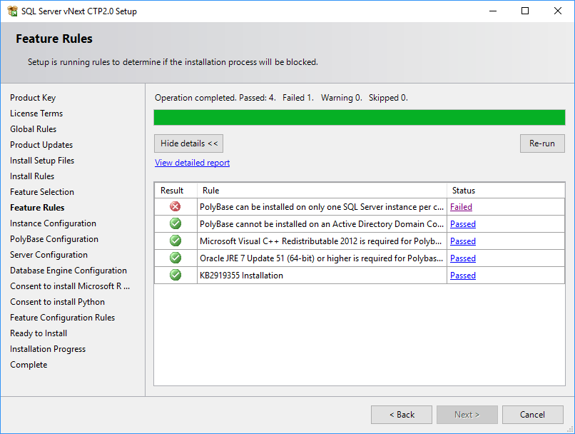 SQL Server 2019 Setup - Feature Rules