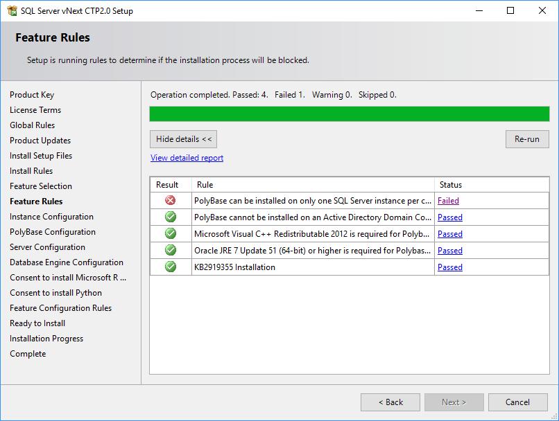 SQL Server 2019 Setup - Feature Rules