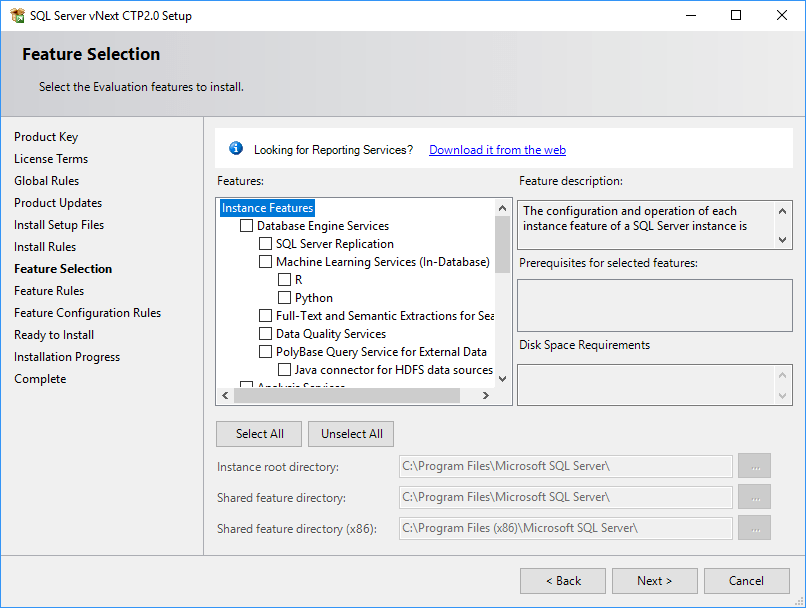 SQL Server 2019 Setup - Feature Selection 01