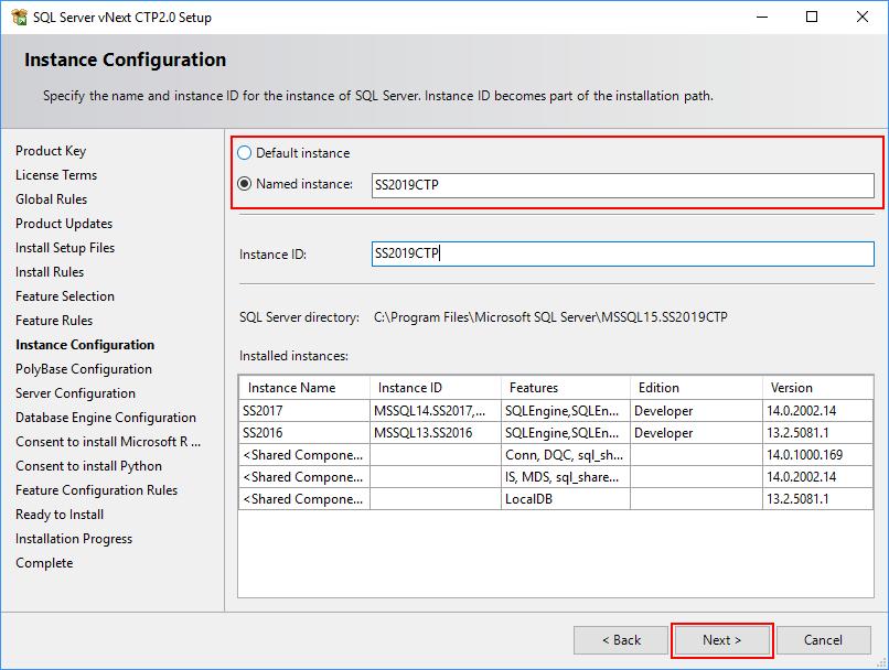 SQL Server 2019 Setup - Instance Configuration